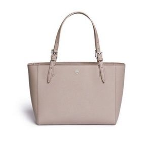 Tory Burch Leather Emerson Gray Tote